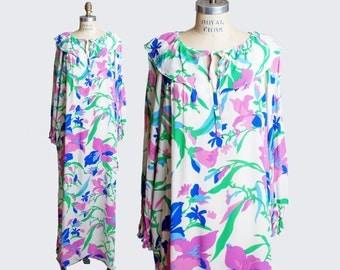 Vintage 70s Bill Blass CAFTAN DRESS / Floral Print Maxi, m
