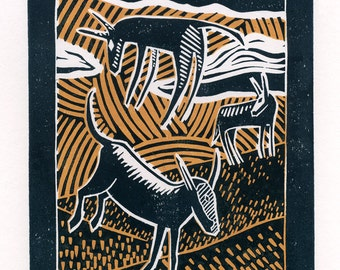 Watching The Wild Donkeys two-colour linocut print in pale orange and grey
