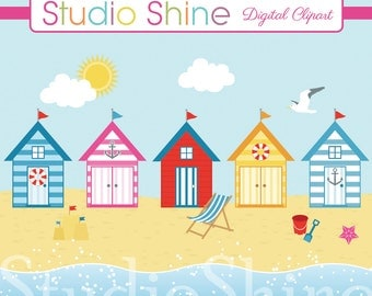 Digital Clipart - By The Seaside - Beach Hut Nautical Ocean Sea Clip Art Vector EPS PNG Clipart Personal and Commercial Use Instant Download