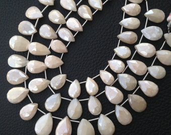 Brand New, Rare Natural Mystic Pink Moonstone Faceted Pear Shape Briolettes,13-14mm size,Full Strand,Amazing Item.