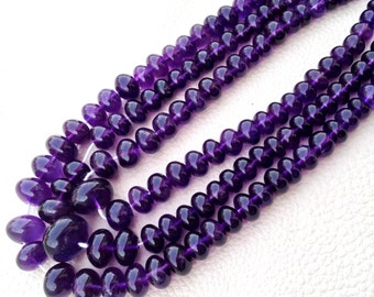 GIANT,Brand New, AAA Quality Natural AMETHYST Smooth Rondells, 6-10mm Size Rondells,Full 8 Inch Long Strand Great Item