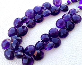 4 Matched pairs,Brand New, Natural AMETHYST Faceted Heart Shape Briolettes, 11x11mm Size Heart, Amazing Item