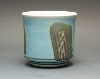 Porcelain tea cup tea bowl blue Japanese pale blue yunomi 14 oz. 2427