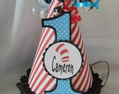 Dr. Seuss birthday party hat Cat in the Hat 1st birthday boy birthday