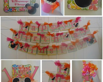 Luau Aloha Minnie Mouse Party Package- Ultimate Birthday Party Package