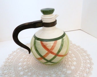 Vernonware Tam O'Shanter Vintage Carafe - 1950's California Pottery - Green Plaid- Beverage Server with Stopper