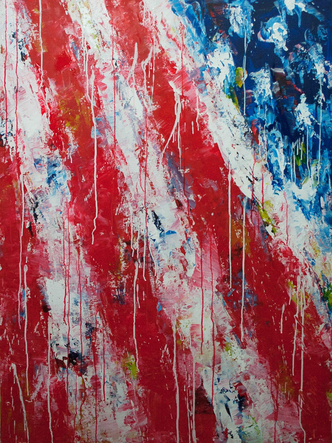 Extra Large Abstract Painting 4th Of July Large Painting Red