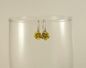 Rose Earrings, Yellow Rose Earrings, Dangle Earrings, Cute Small Earrings, Handmade Earrings, Sterling Silver Earrings