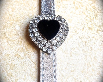 Rhinestone Heart Bracelet- Vintage Heart bracelet- Silver Leather Bracelet- Black Enamel Heart- Statement Jewelry- Handmade Jewelry- Unique