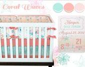 Coral Waves Crib Bedding, Baby Bedding, Coral, Mint, Pink, Turqoise, Ocean, Underwater, Fish, Modern Baby Girl Nursery