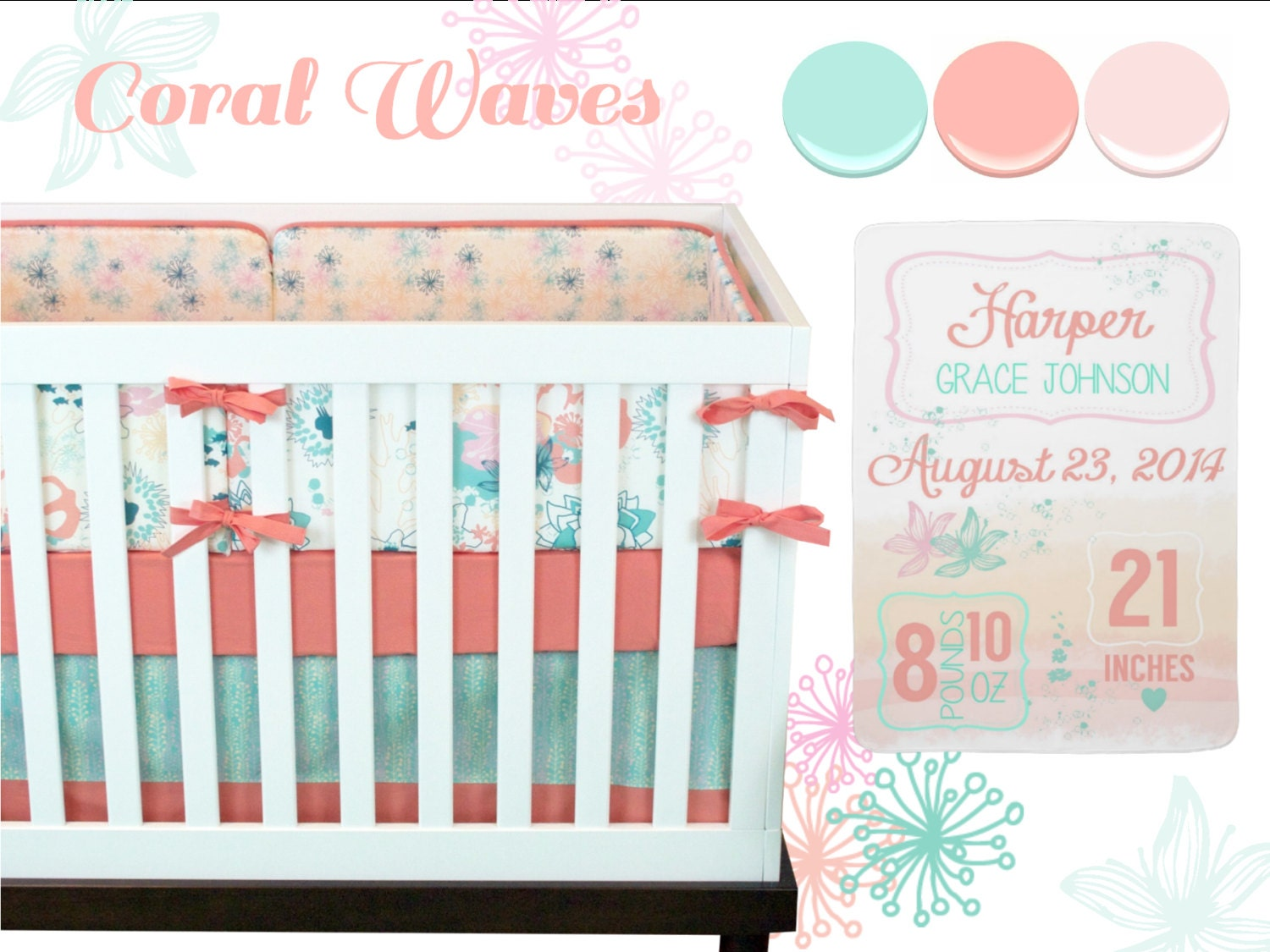 baby girl crib bedding baby bedding coral mint pink - 🔎zoom
