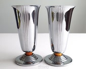 2 Chase Art Deco Chrome Metal and Bakelite Minerva Footed Vases