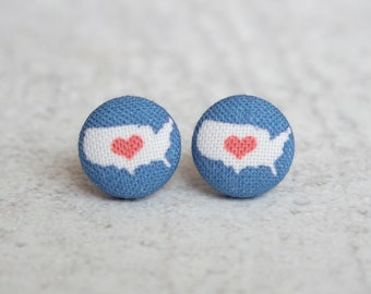 USA Heart, Fabric Button Earrings