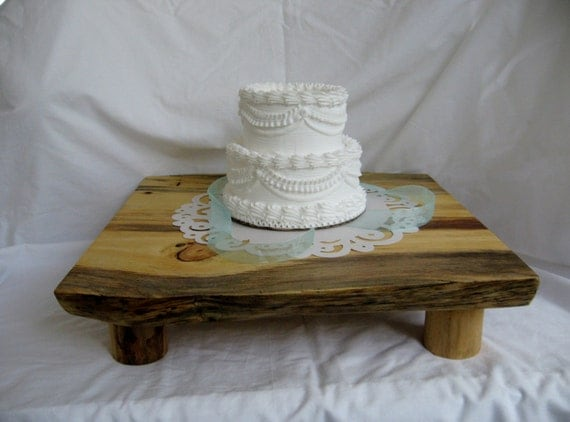 items similar to rustic wood tree slice cake stand cake. Black Bedroom Furniture Sets. Home Design Ideas