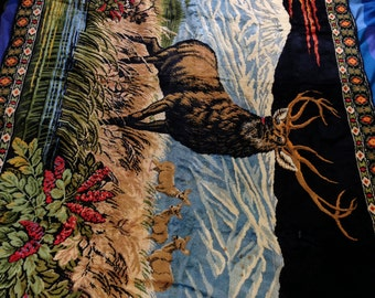 Vintage Buck Deer Mountain Scene Rug Tapestry Border Wall Hanging Velvet 6x4 LARGE Man Cave Rayon