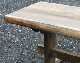 Wide Western Red Cedar Slab Trestle Table