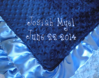 Personalized Minky Dot and Cuddle Rose Minky Blanket 18 x 22 Lovey Size
