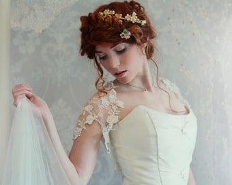 Lace Bridal shrug - Ivory embroidered tulle