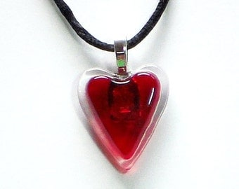 Red Heart on Clear Fused Glass Pendant