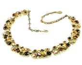 Vintage LISNER 1950s Topaz Rhinestone and Gold Necklace