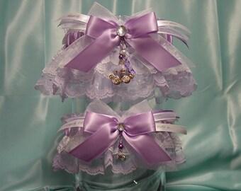 Lavender Cinderella Rhinestone Pumpkin Carriage Wedding Garter Set