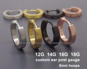 Custom gauged earrings for men - Gauge hoop earrings - 12G 14G 16G 18G - Men's earrings - Gauged Hoop Earrings - E130 Custom Gauge