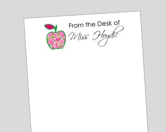 Personalized Flower Apple Notepad ~ Teacher Gift ~ 3 Sizes