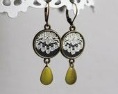 Ivory Lace Earrings, Lace Dangle Earrings, Gray Drop Earrings, Ivory Lace Jewelry,  Brass, Unique Bridesmaid Earrings, Wedding Earrings