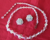 Vintage Signed Laguna AB Crystal Checkerboard Bead Necklace n Clip On Earrings