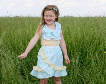 Paradise Days - Shirt and Skirt Outfit Girls PDF Pattern and matching doll  - sizes 1-16 and 15 and 18 inch doll