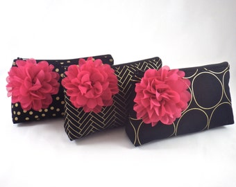 Design Your Own Zipper Clutch with Flower Brooch   Cosmetic or Makeup Bag   Black, Fuchsia Pink & Metallic Gold   Custom Bridesmaid Gift Set