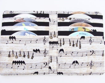CD Case DVD Case Video Game Holder Blu Ray Disc Storage Case Book made with Music Notes & Birds Fabric - Hold's 12 Disc's