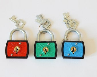3 colorful locks and keys padlocks