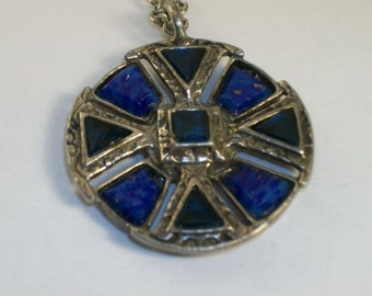 Celtic Necklace Hallmark Miracle Blue Opalescent Inlay Vintage 3D Pendant