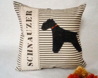 Grey Felt Schnauzer Pillow - Grey Felt Schnauzer Silhouette Decorative Pillow, Schnauzer Gift, Schnauzer Dog Silhouette Pillow, Pet Pillow
