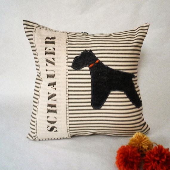 Grey Felt Schnauzer Pillow - Grey Felt Schnauzer Decorative Pillow Cover