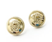 25mm Golden Medusa Snake Stud Earrings. FAST Shipping with Tracking for US Buyers. Gift Box w/Ribbon Included.