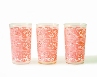 Drinking Glasses | Vintage | Pink Chantilly Lace | Set of Three