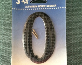 Vintage Aluminum House Number // Zero or O // New Old Stock