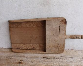 Vintage Primitive Grain Scoop // Wood & Brass