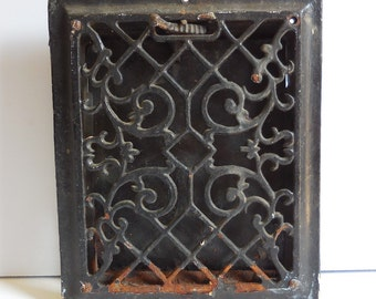 Antique Cast iron Metal Grate Floor Wall Register Chippy black Architectural salvage Ornate Gothic Decorative