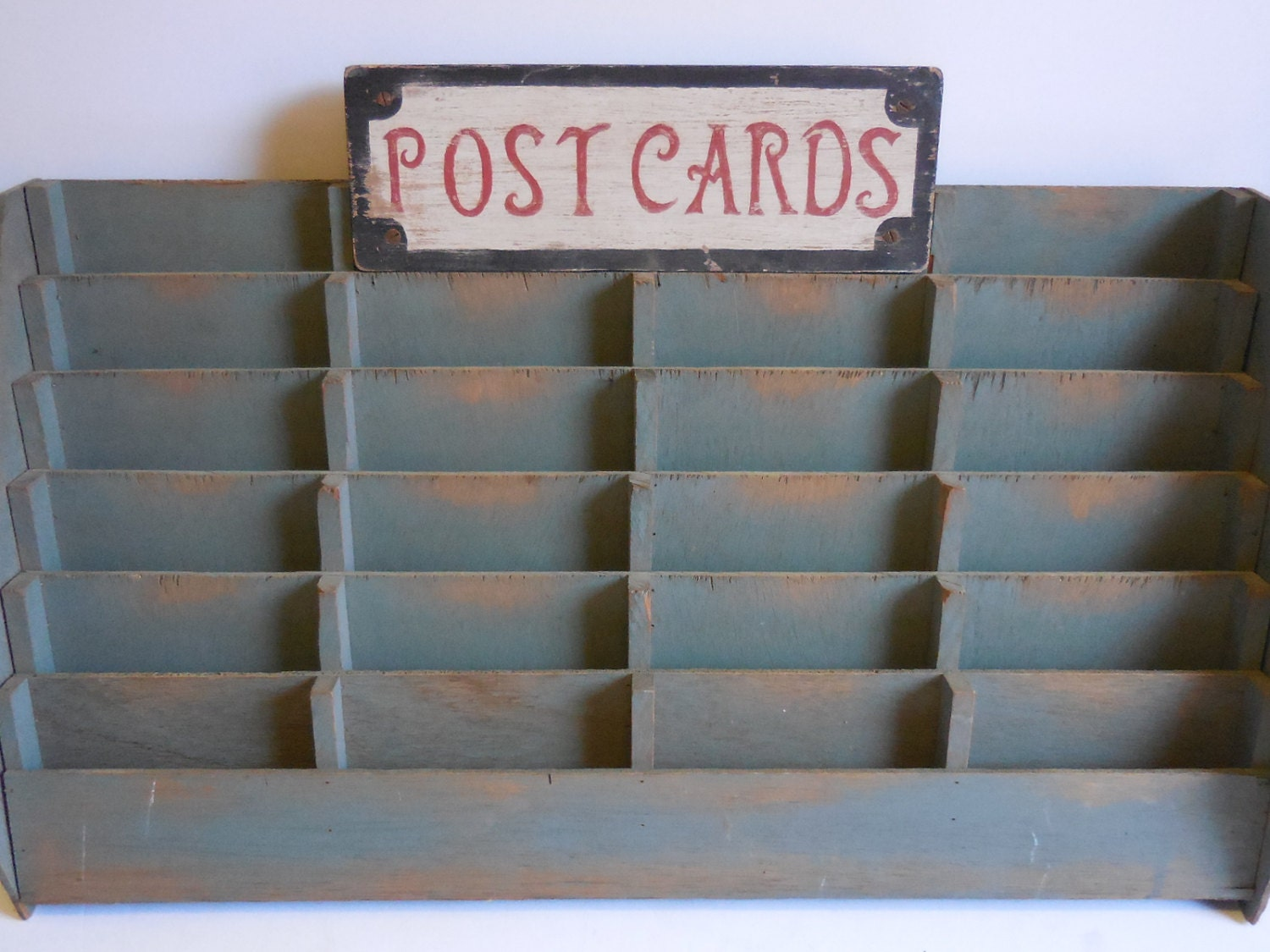 Vintage Postcard Display Rack Card Shelves Slots Wood