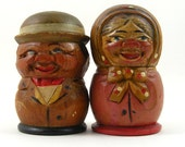 Carved Wood People Salt and Pepper Shakers Man Woman Hand Painted German