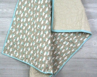 Airplane baby quilt, clouds and sky, gender neutral blanket, Natural tan and robin egg blue