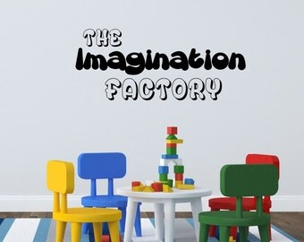 The Imagination Factory Wall Decal - Nursery Wall Decal - Childerns Play Room Sticker - Fun Factory Gift Idea Wall Art - Inspiring Decal