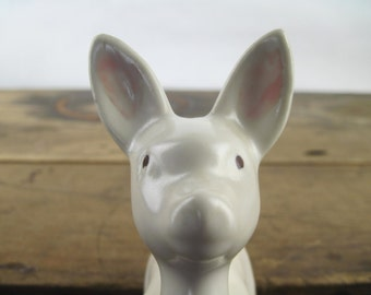 white fawn, vintage ceramic deer figurine - woodland critter, baby forest animal