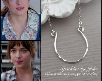 Inspired by 50 Shades of Grey film, Sterling Silver U Necklace, Hand Formed Pendant, Textured Focal, Anastasia's Necklace