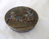 Egyptian metal trinket / jewelry box - Oblong - Engraved Figures - Pharaohs - Egyptian Symbols - Red/Blu e Accents - Gifts - #1201