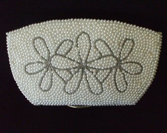 Pearl Evening Bag, By Debbie John Ward - Made in Japan,  1950s - Wedding - Evening Bag - Prom - Gifts - #1535