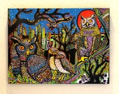 """Night Owls - 18"""" x 24"""" uniquely hand painted canvas print"""